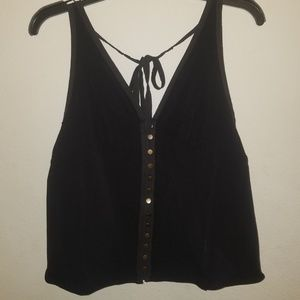 Free People Corset Style Button up Front Tank Top